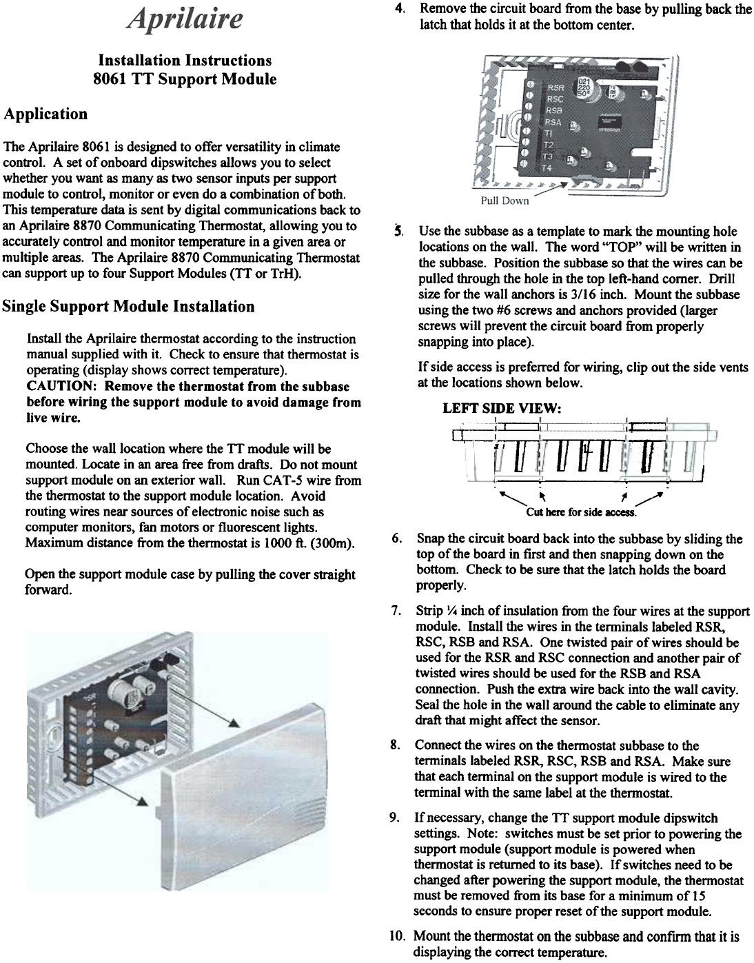 Aprilaire Thermostat 8061 User Guide Manualsonlinecom Wiring Diagram 4 Remove The Circuit Board From Base By Pulling Back