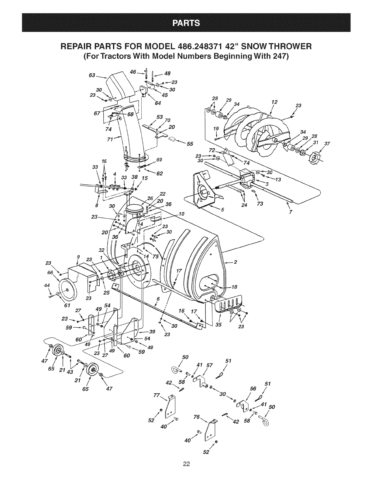 Snow Blower Replacement Parts : Page of craftsman snow blower user guide