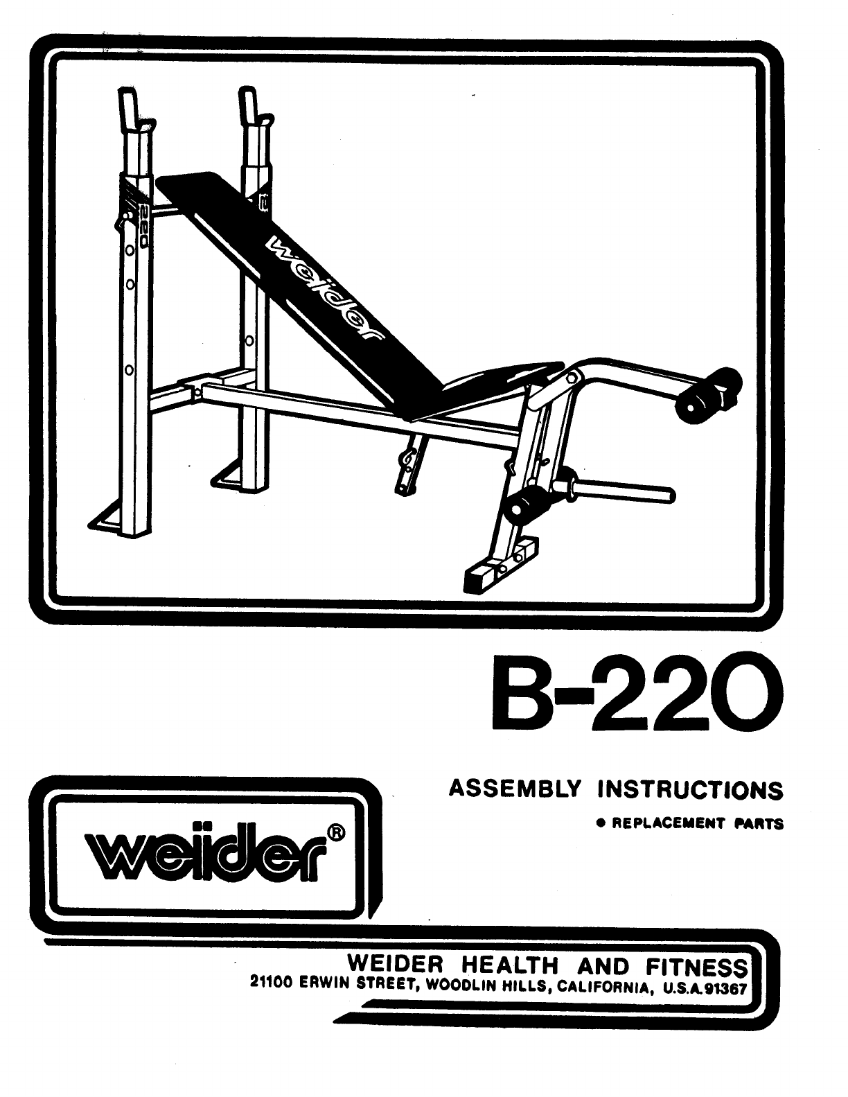 weider fitness equipment b