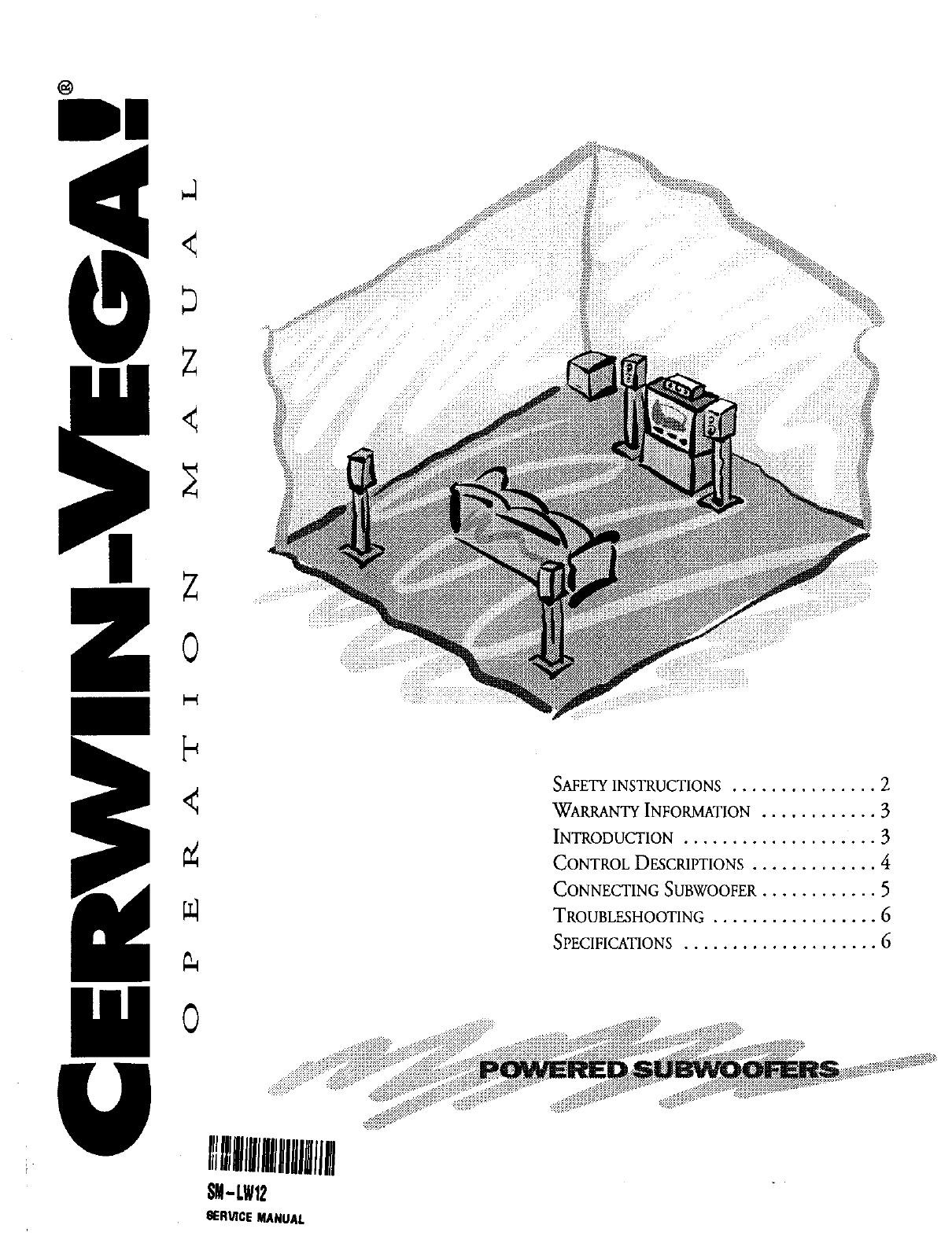 Cerwin-Vega SM-LW12 Speaker User Manual