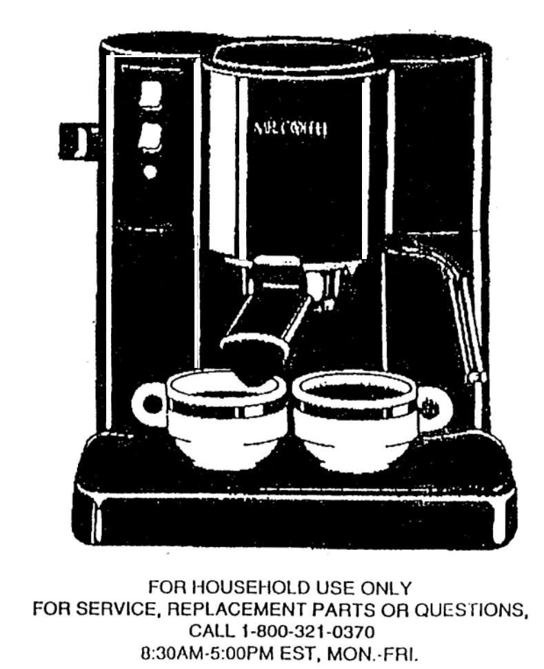 Mr. Coffee Espresso Maker ECMP2 User Guide ManualsOnline.com