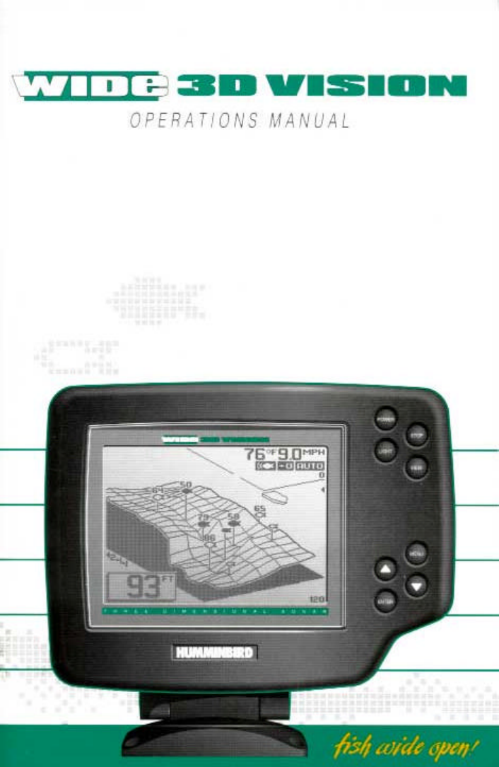 humminbird fish finder wide 3d vision user guide | manualsonline, Fish Finder