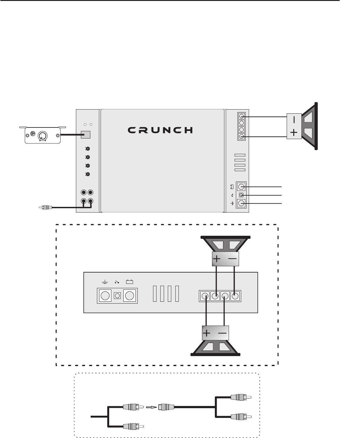 page of crunch stereo amplifier p user guide power input