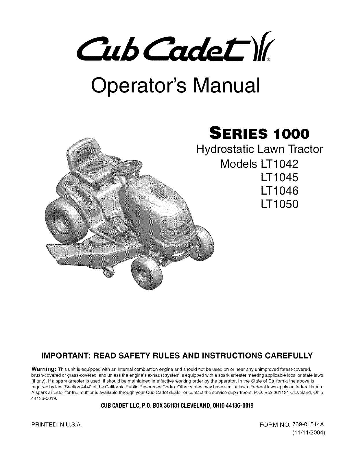 Cub Cadet Lawn Mower LT1050 User Guide | ManualsOnline.com