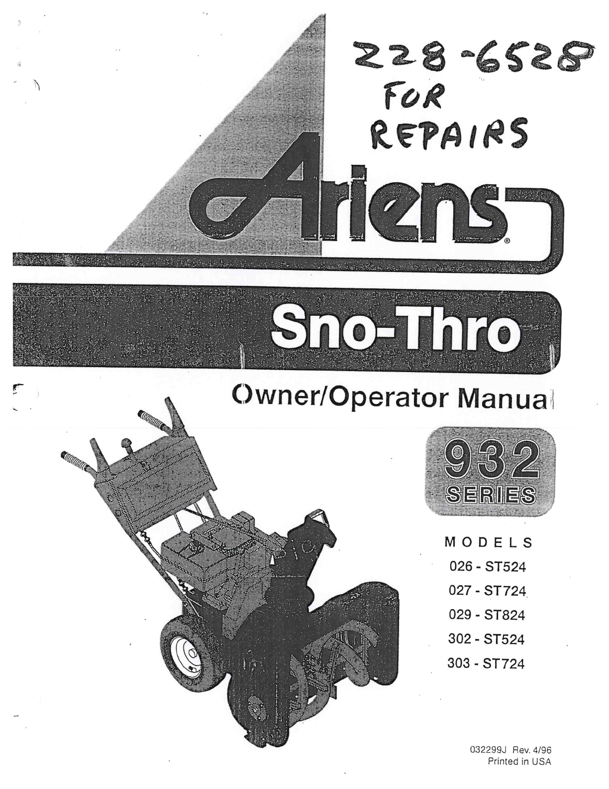 ariens snow blower 029 st824 user guide manualsonline com rh lawnandgarden manualsonline com ariens 824 engine manual ariens st824 owners manual
