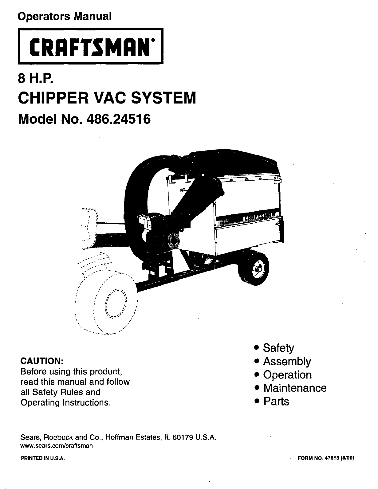 Sears Craftsman Lawn Vacuum And Chipper : Craftsman chipper  user guide manualsonline