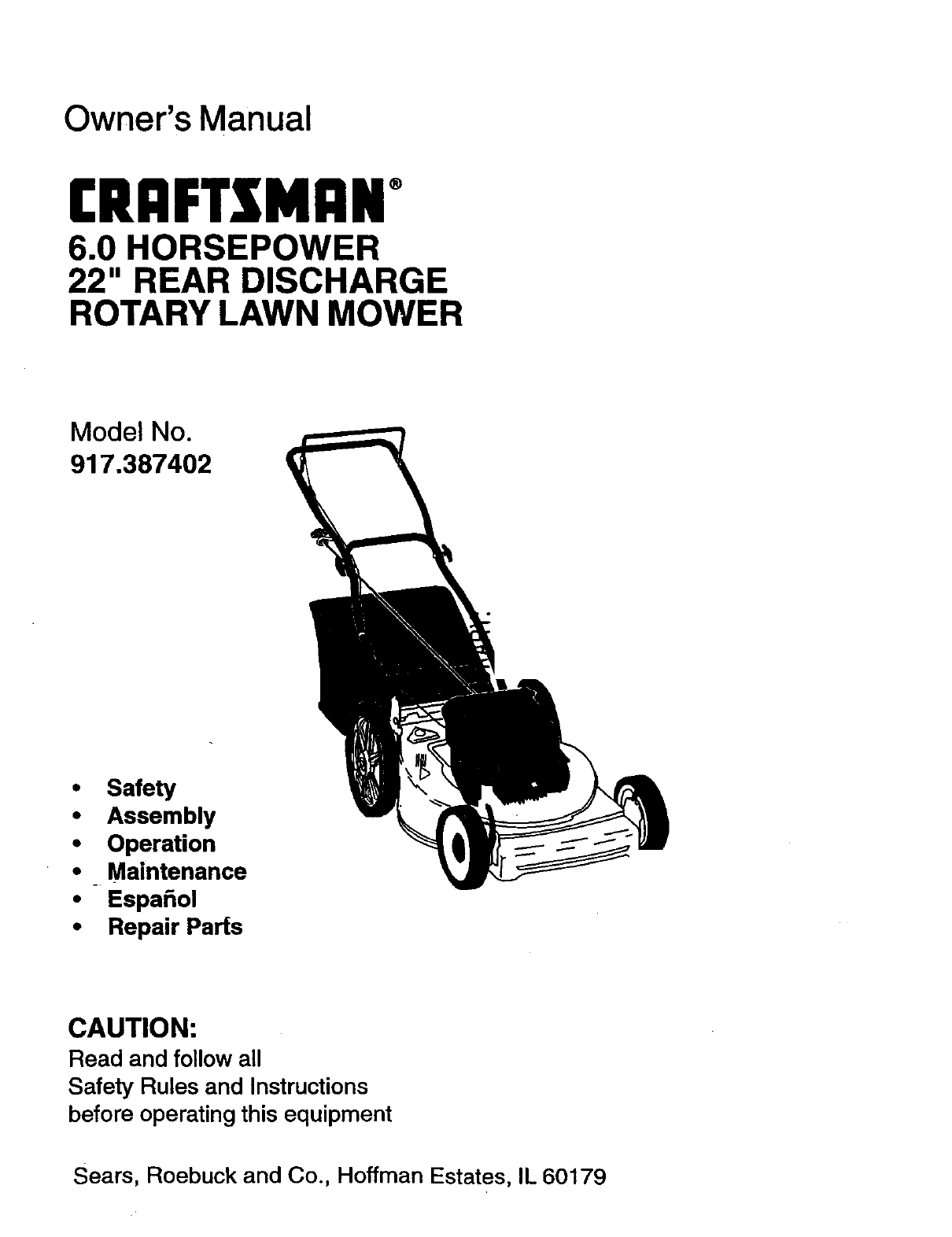 craftsman lawn mower 917 387402 user guide manualsonline com rh tv manualsonline com Craftsman Instruction Manual Craftsman Instruction Manual