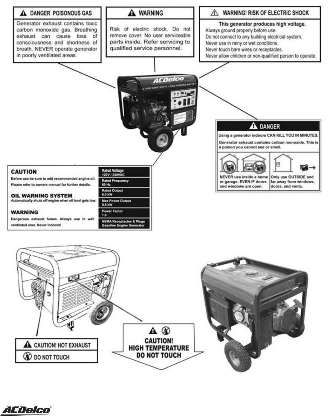 Page 8 of ACDelco Portable Generator AC-G0005 User Guide