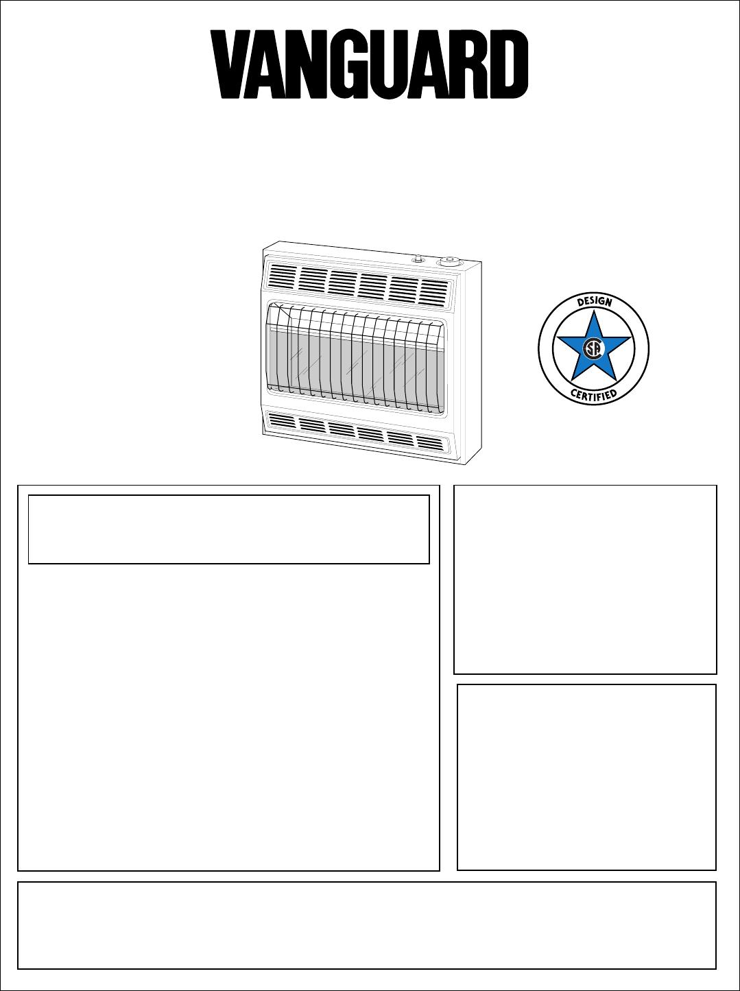 vanguard heating gas heater vp2800btd user guide manualsonline com