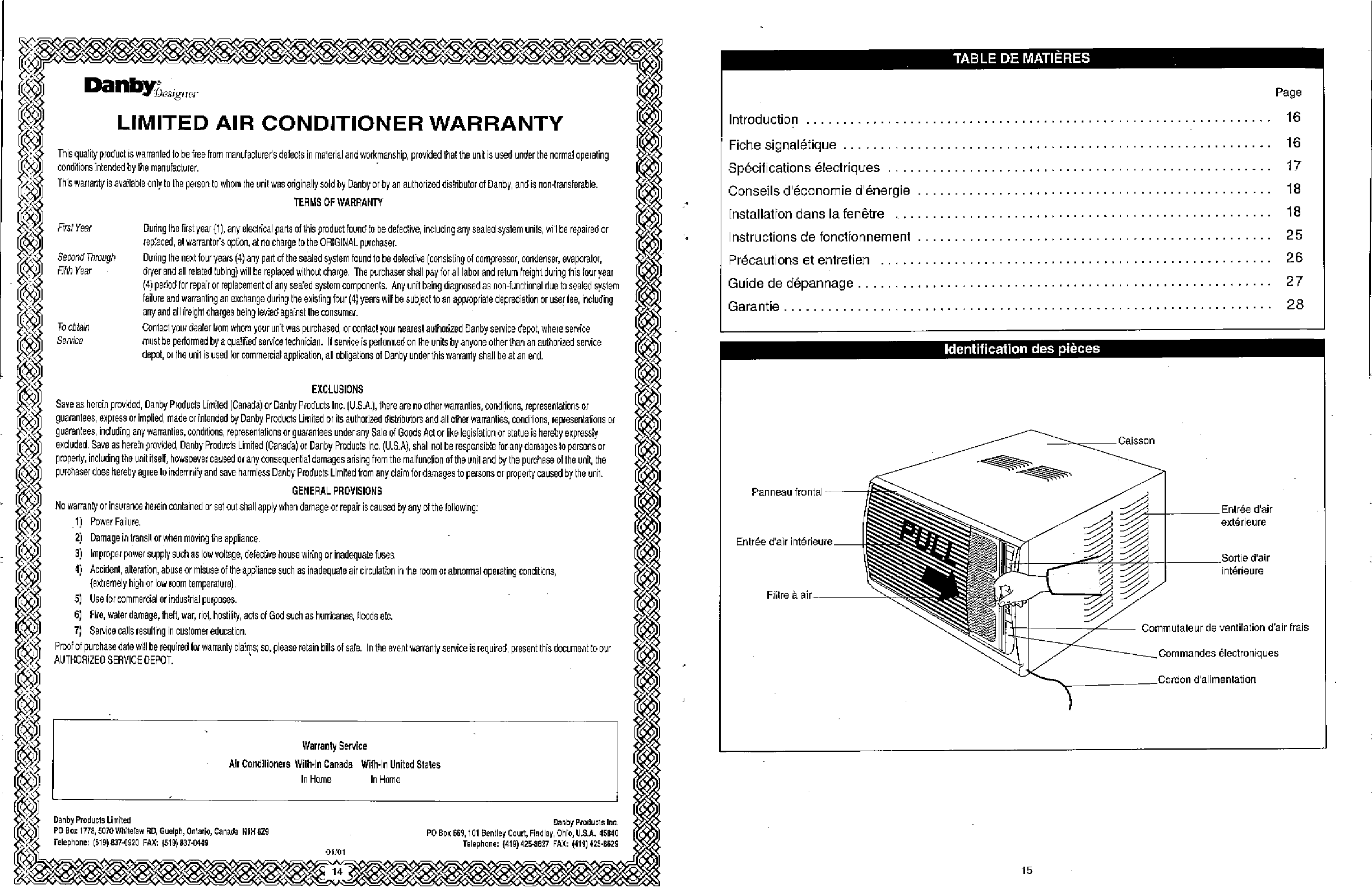 page 16 of danby air conditioner dac8003d user guide