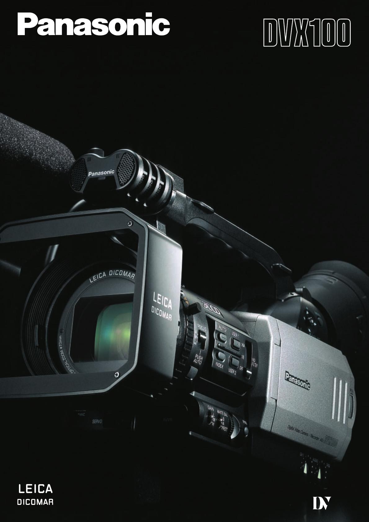 panasonic camcorder ag dvx100 user guide manualsonline com rh tv manualsonline com Panasonic Professional Camcorders Panasonic Full HD Camcorder