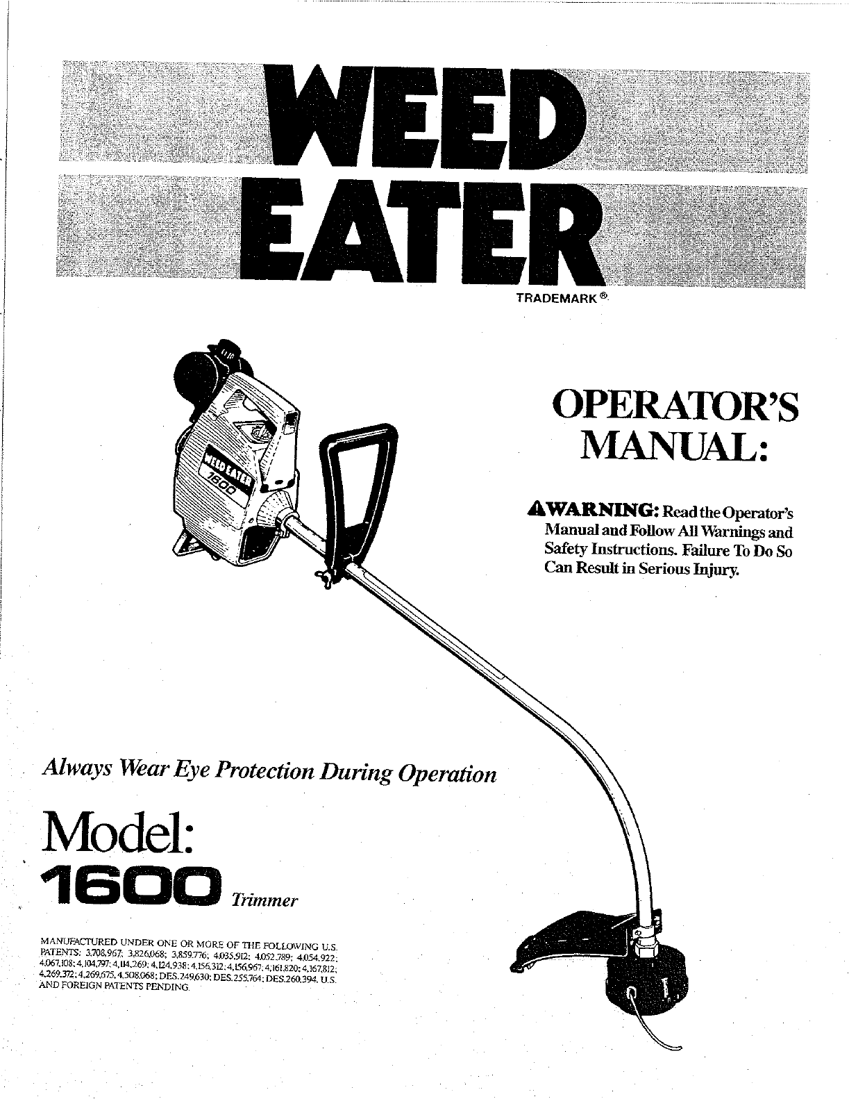 Weed Eater Trimmer 1600 User Guide