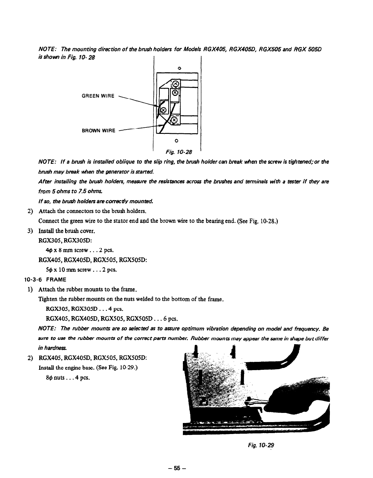 Page 58 of subaru robin power products portable generator rgx405 note the mounting dirmtion of the brush holders for models rgx405 rgx405d rgx505 and rgx 505d asfbconference2016 Choice Image