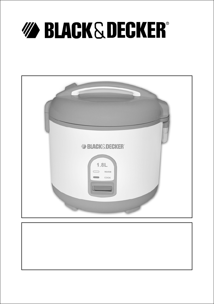 black decker rice cooker rc1820 user guide manualsonline com rh kitchen manualsonline com black and decker rice cooker manual rc3406 black and decker rice cooker manual rc506