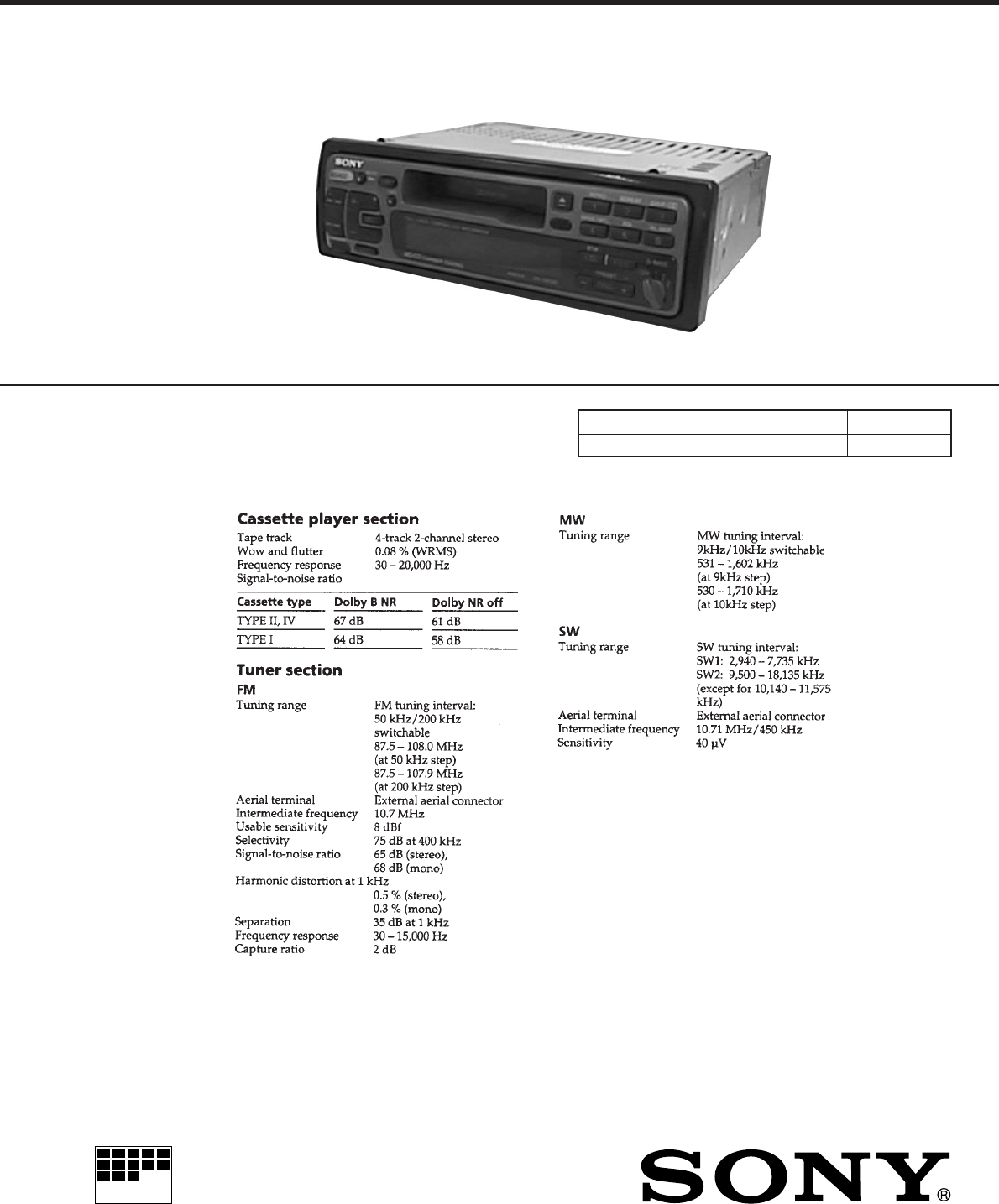 Sony Car Stereo Manual