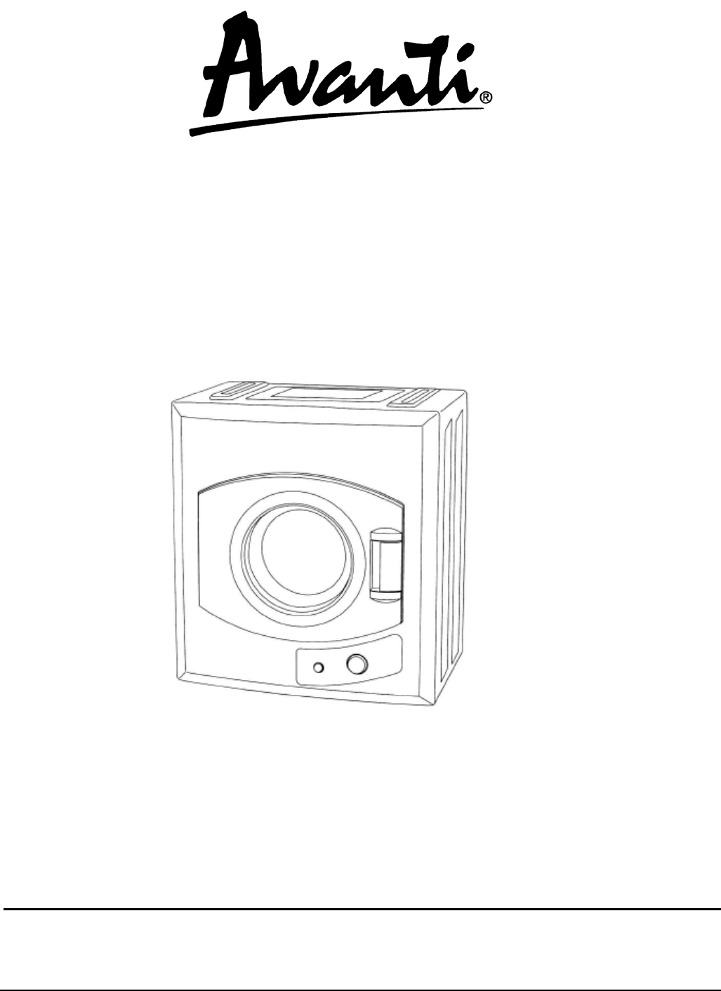 Avanti Dishwasher Wiring Diagram Services Clothes Dryer D110 1 User Guide Manualsonline Com Rh Laundry For Ge Profile Frigidaire