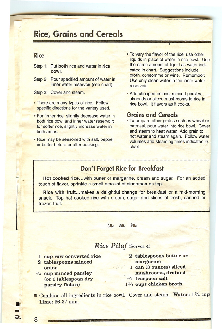page 8 of rival rice cooker 4450 user guide