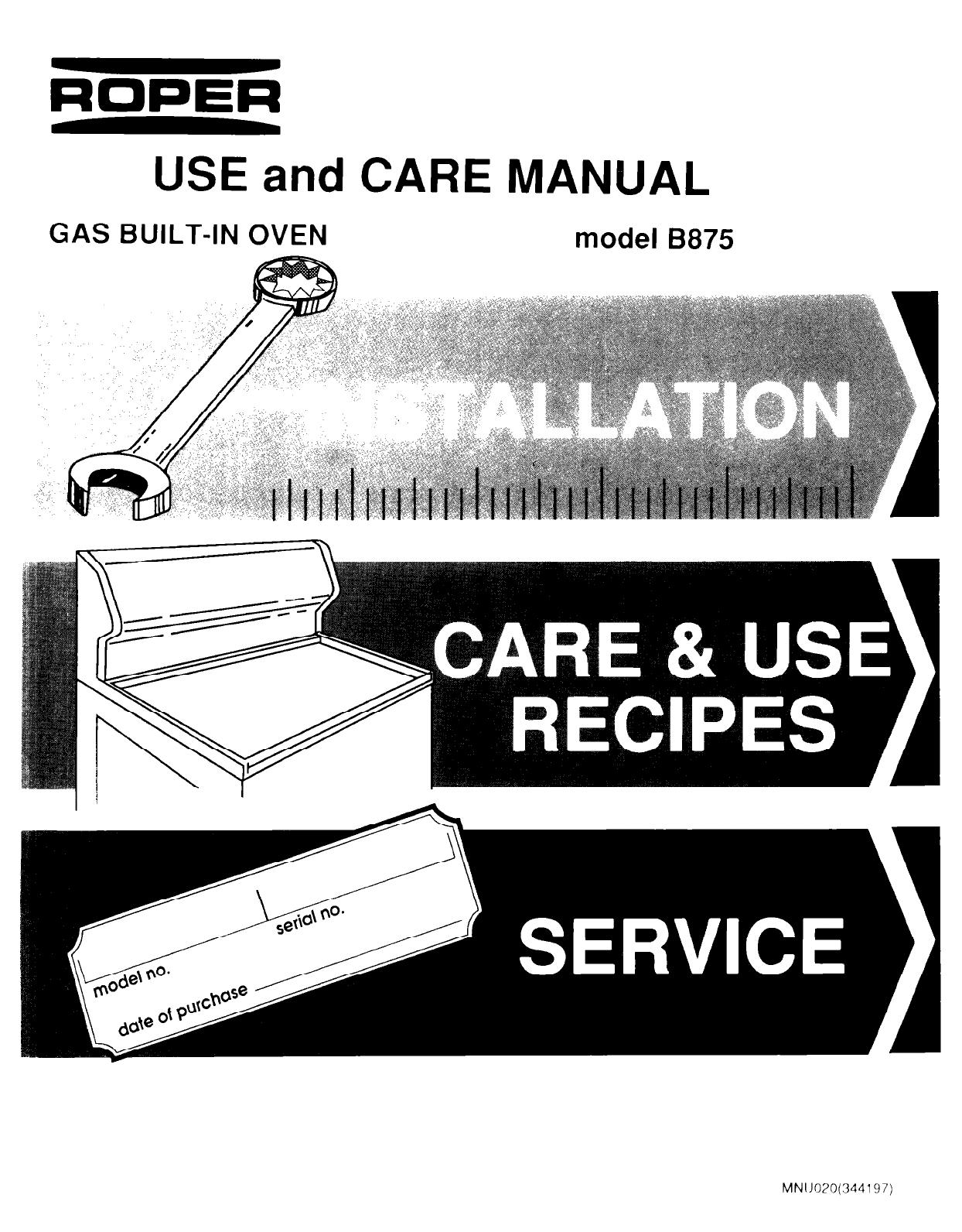 roper oven mn11020 344197  user guide manualsonline com Roper Electric Dryer Manual Roper Oven Manual