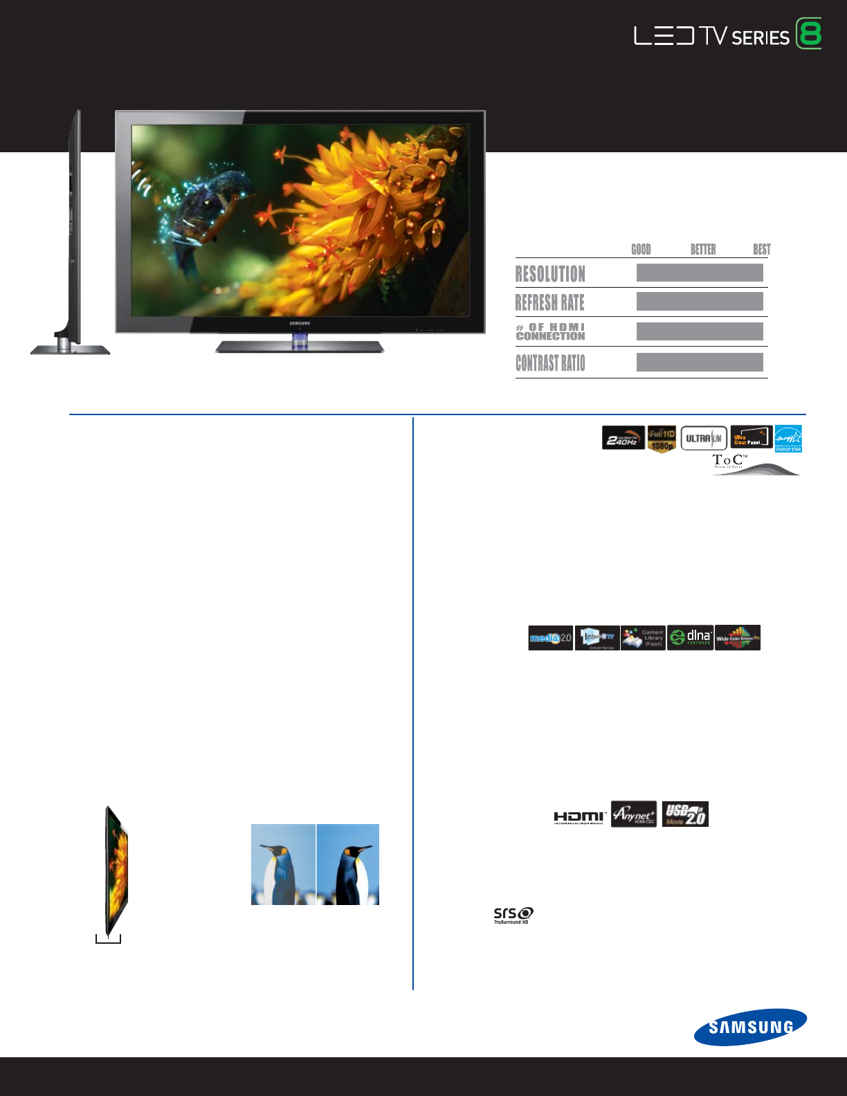Samsung Flat Panel Television UN55B8500 User Guide