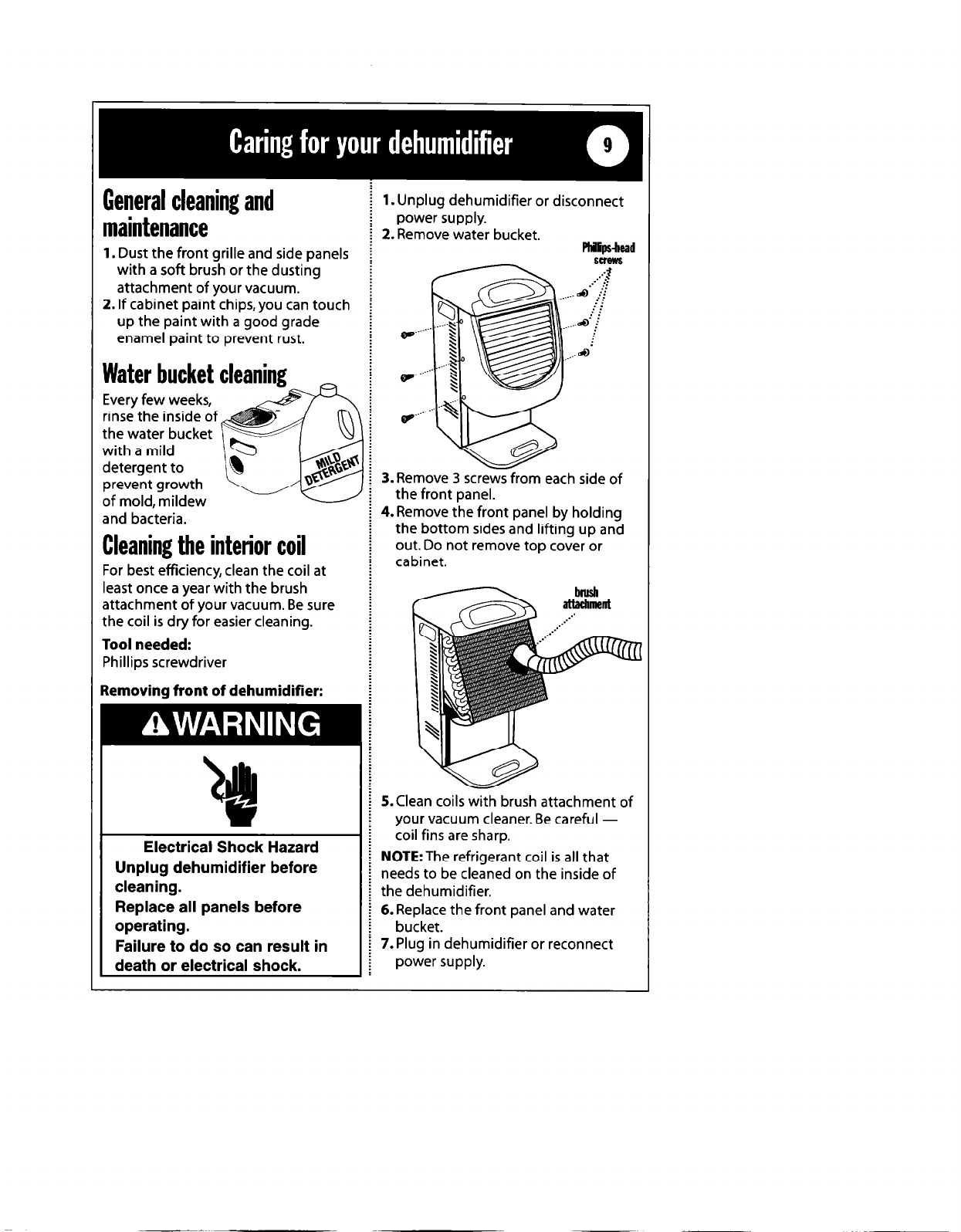 Page 9 Of Whirlpool Dehumidifier 1182182 User Guide