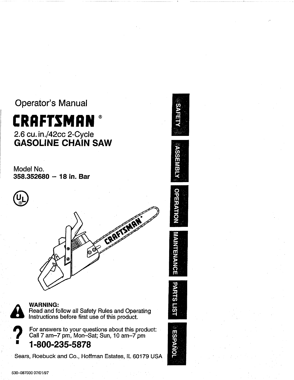 craftsman chainsaw 358 352680 18 in bar user guide rh tv manualsonline com Craftsman Chainsaw Repair Manual Craftsman 18 Chainsaw Owners Manual