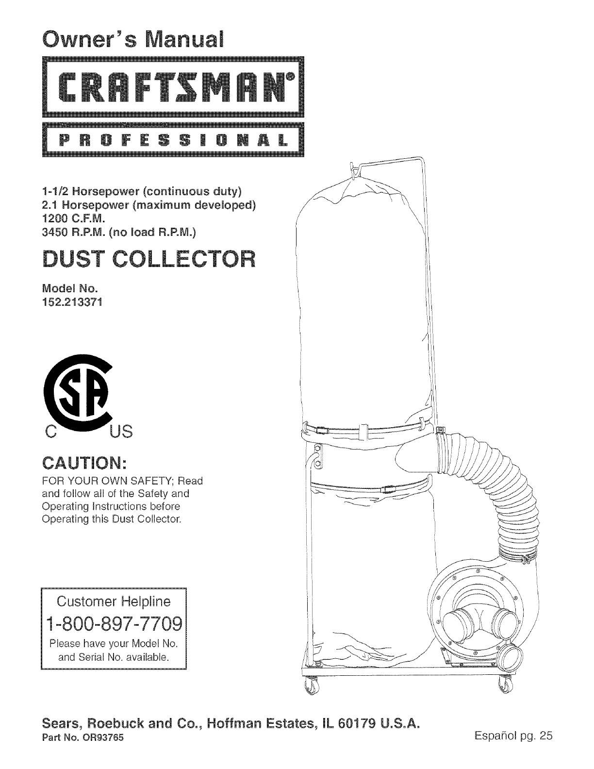 craftsman dust collector 152 213371 user guide manualsonline com rh kitchen manualsonline com Craftsman 1 HP Dust Collector Craftsman Table Saw Dust Collector