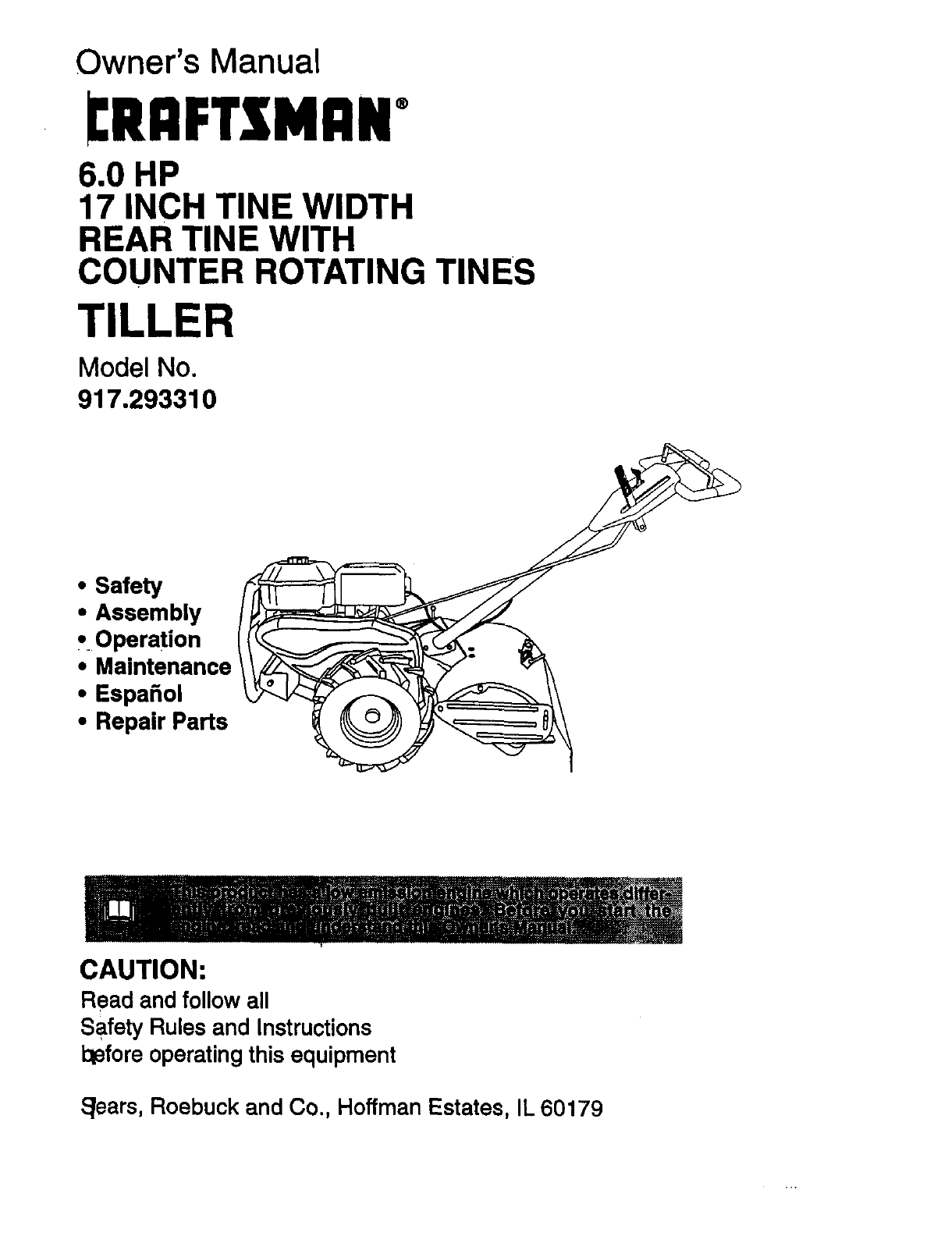 craftsman tiller 917 29331 user guide manualsonline com rh lawnandgarden manualsonline com Craftsman Radial Saw Owners Manual Craftsman Tiller Parts Manual