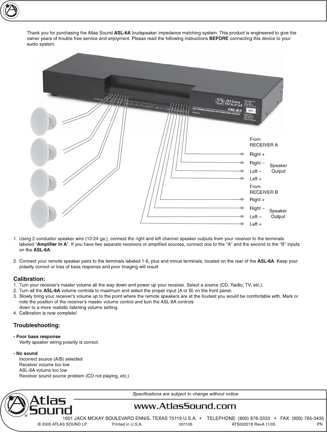 Atlas Sound ASL-6A Speaker System User Manual