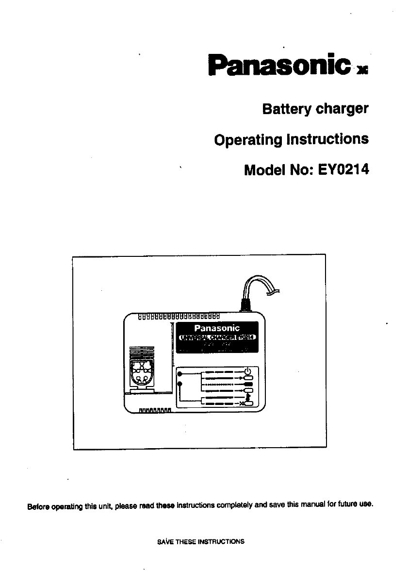 Panasonic Automobile Battery Charger EY0214 User Guide