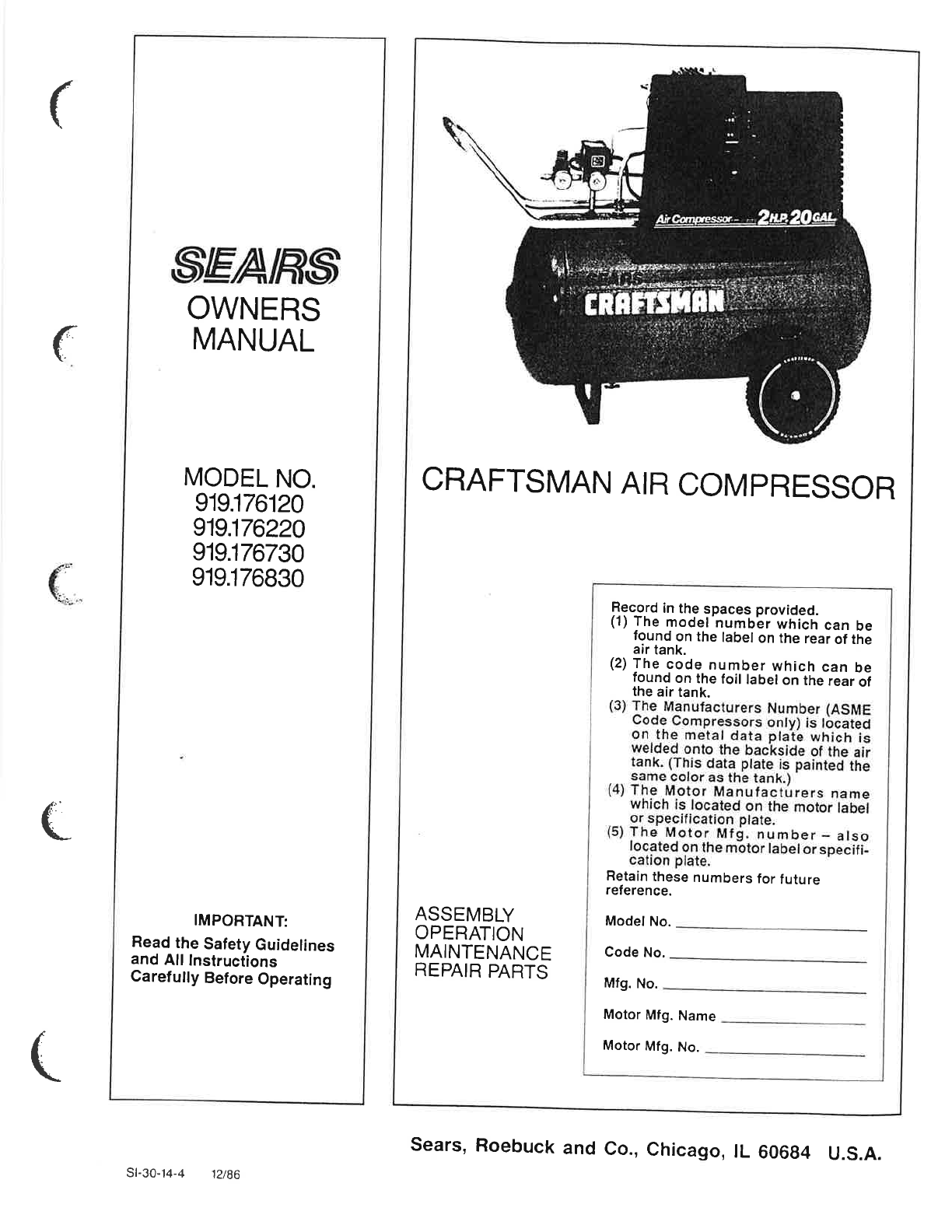 Craftsman 919152812 Air Compressor Parts Manual Guide