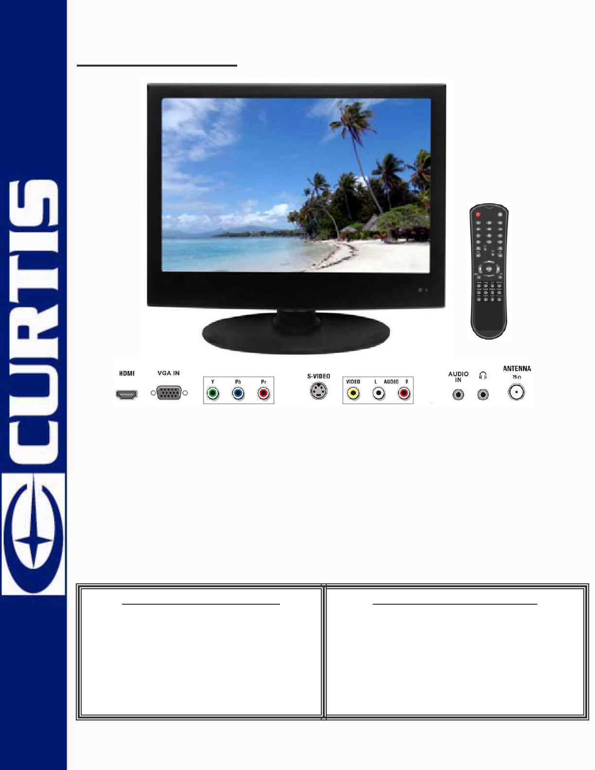 curtis flat panel television lcd1533 user guide manualsonline com rh tv manualsonline com Curtis Mathes Curtis TV Codes