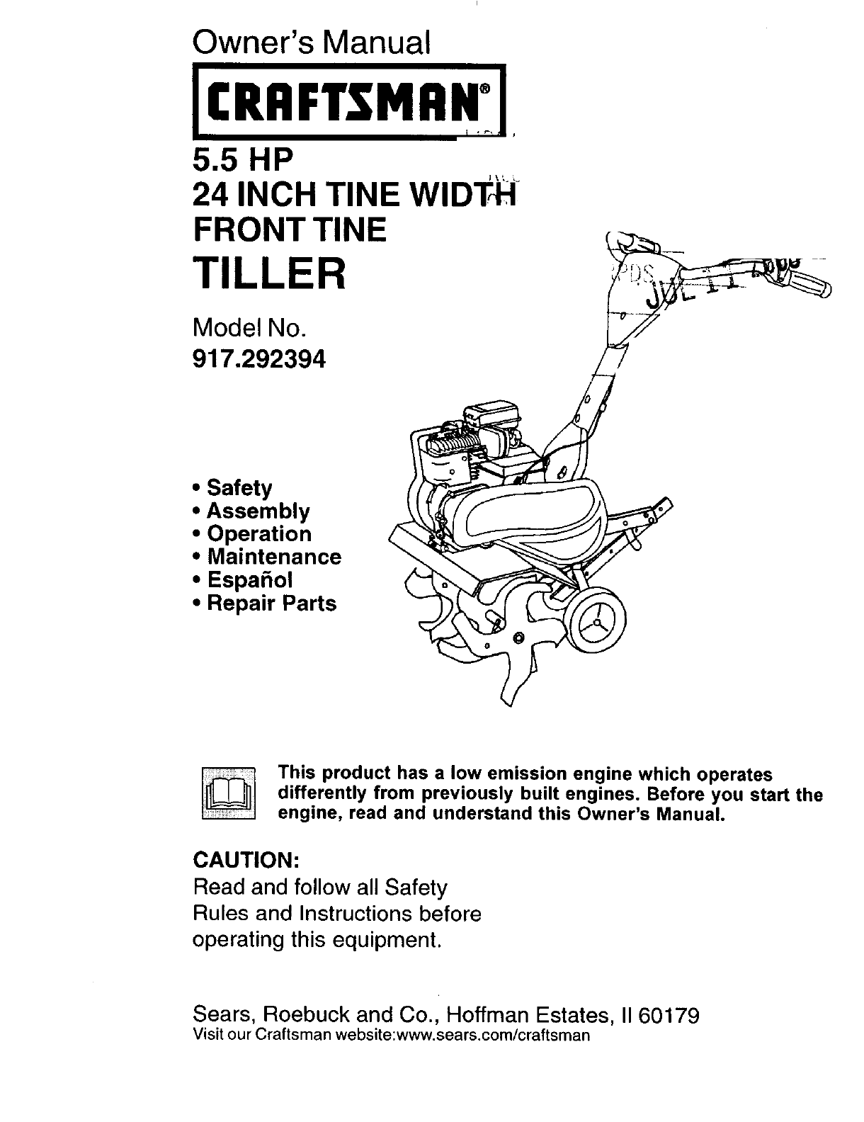 Craftsman 5 Hp 24 Tiller Manual : Craftsman tiller user guide manualsonline