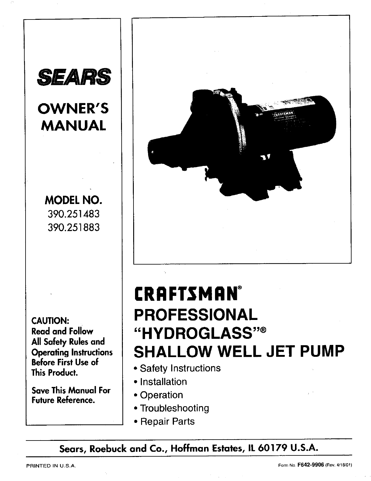 craftsman water pump 390 251883 user guide manualsonline com rh homeappliance manualsonline com Marine Sea Water Pump P1500bxt Sea Water Pump