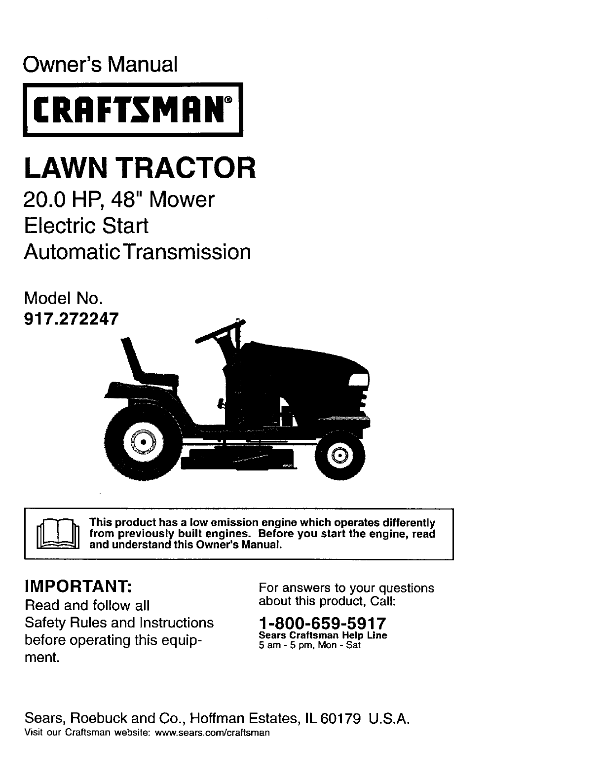 Craftsman Lawn Mower 917272247 User Guide Manualsonlinecom Riding Lt1000 Wiring Diagram