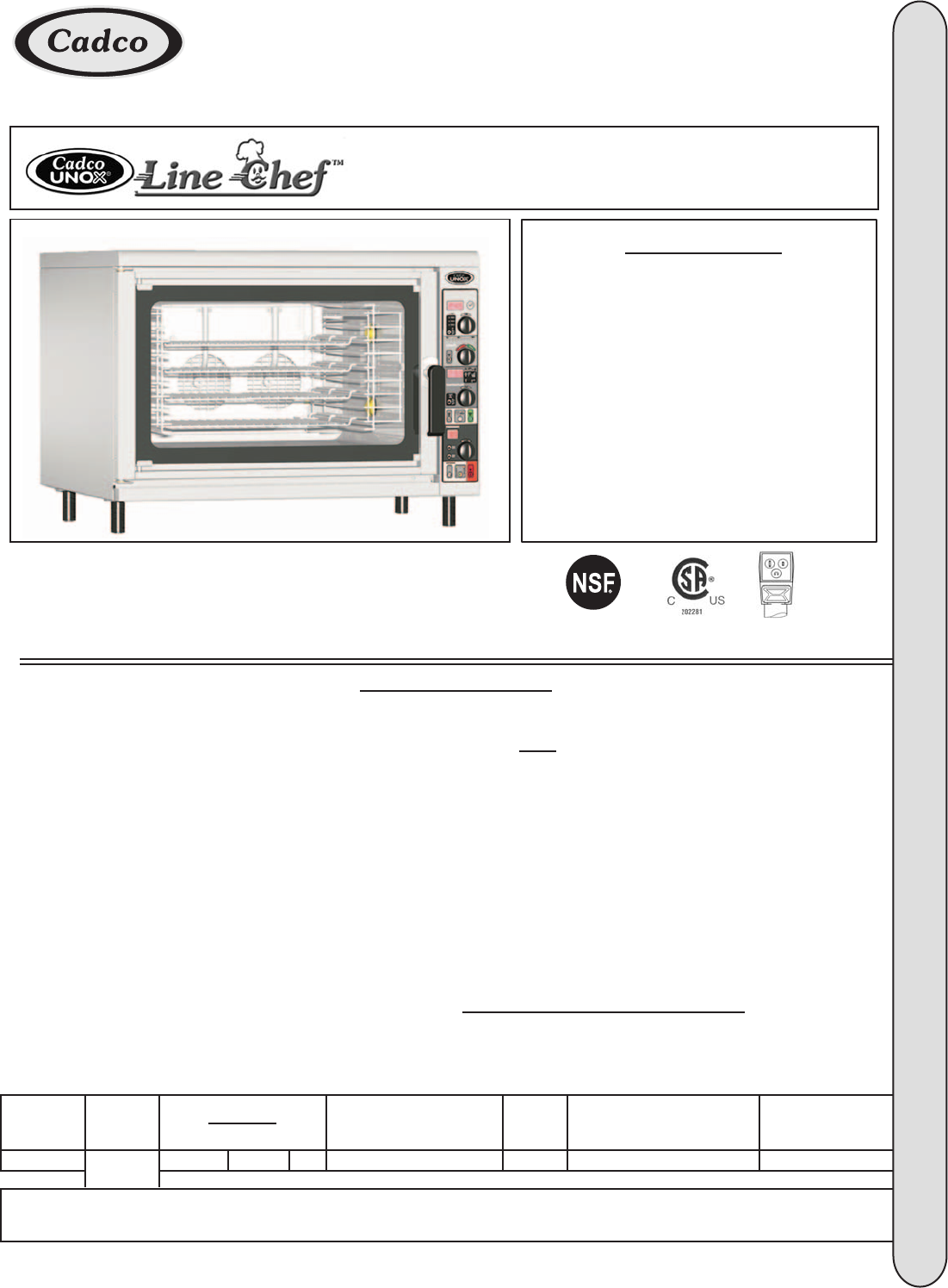 Cadco CAPO-403 Convection Oven User Manual