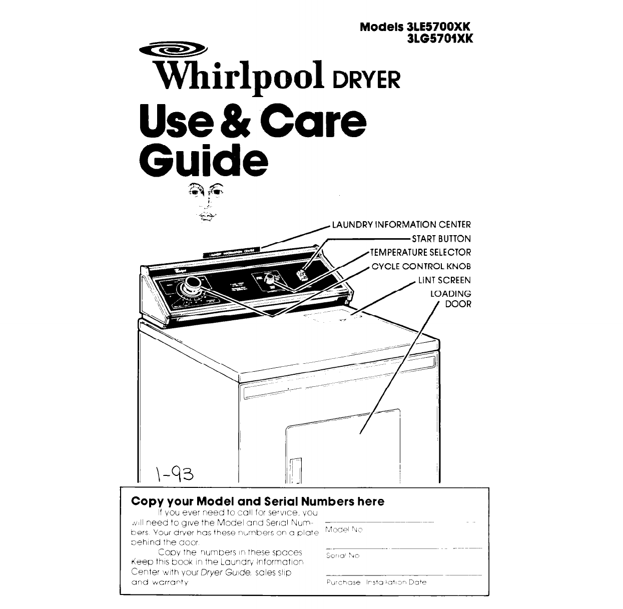 Whirlpool Clothes Dryer 3le5700xk User Guide border=