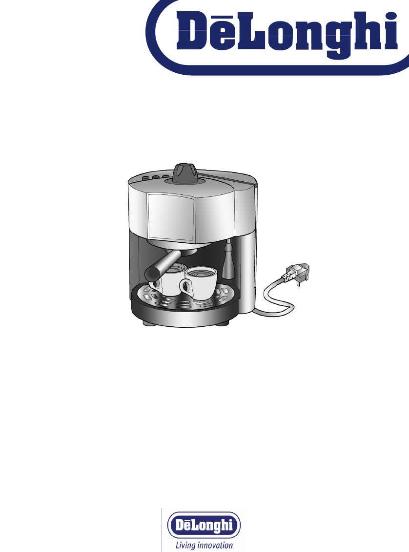 Delonghi Coffee Maker Ec330s User Guide : DeLonghi Coffeemaker EC160 User Guide ManualsOnline.com