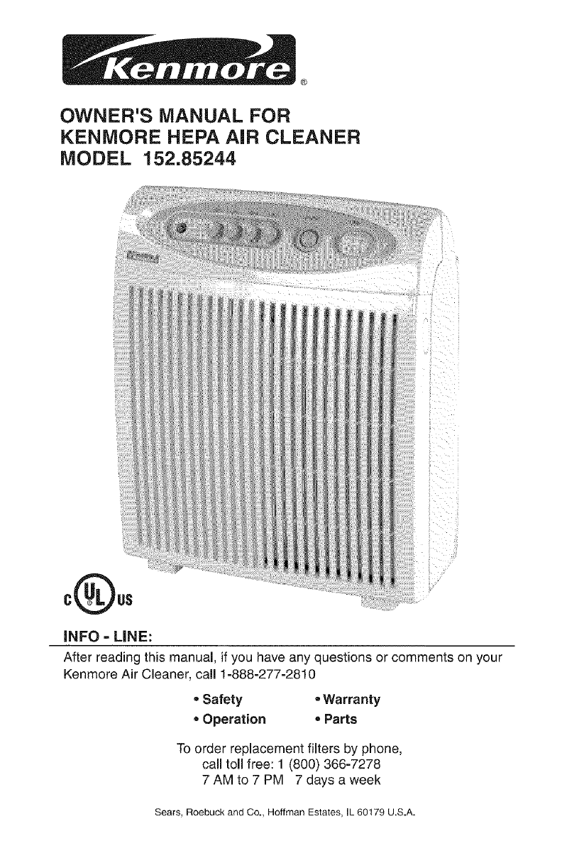 kenmore air filter. owner\u0027s manual for. kenmore hepa air cleaner kenmore air filter