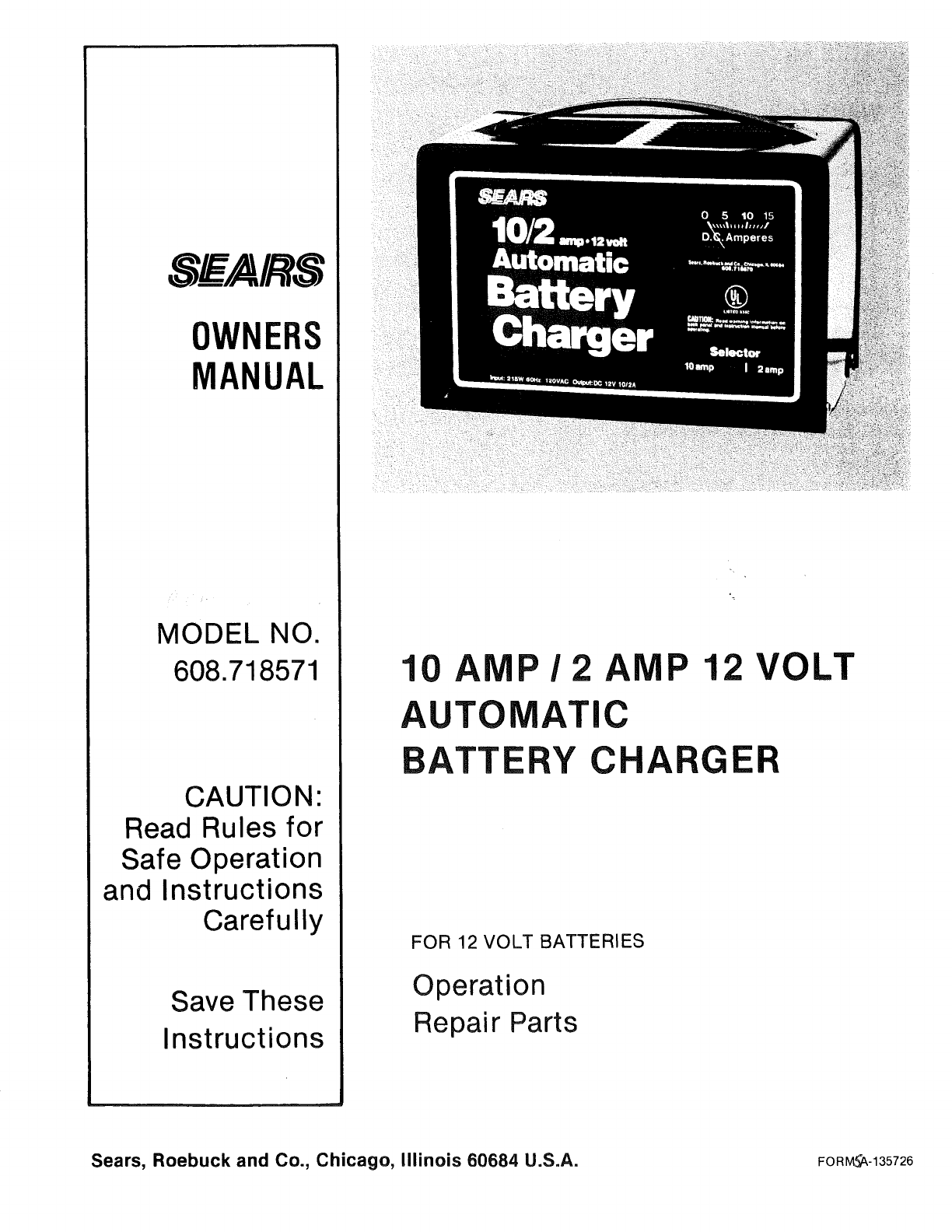 sears automobile battery charger 608 718571 user guide rh auto manualsonline com sears service manuals sears service manuals.pdf