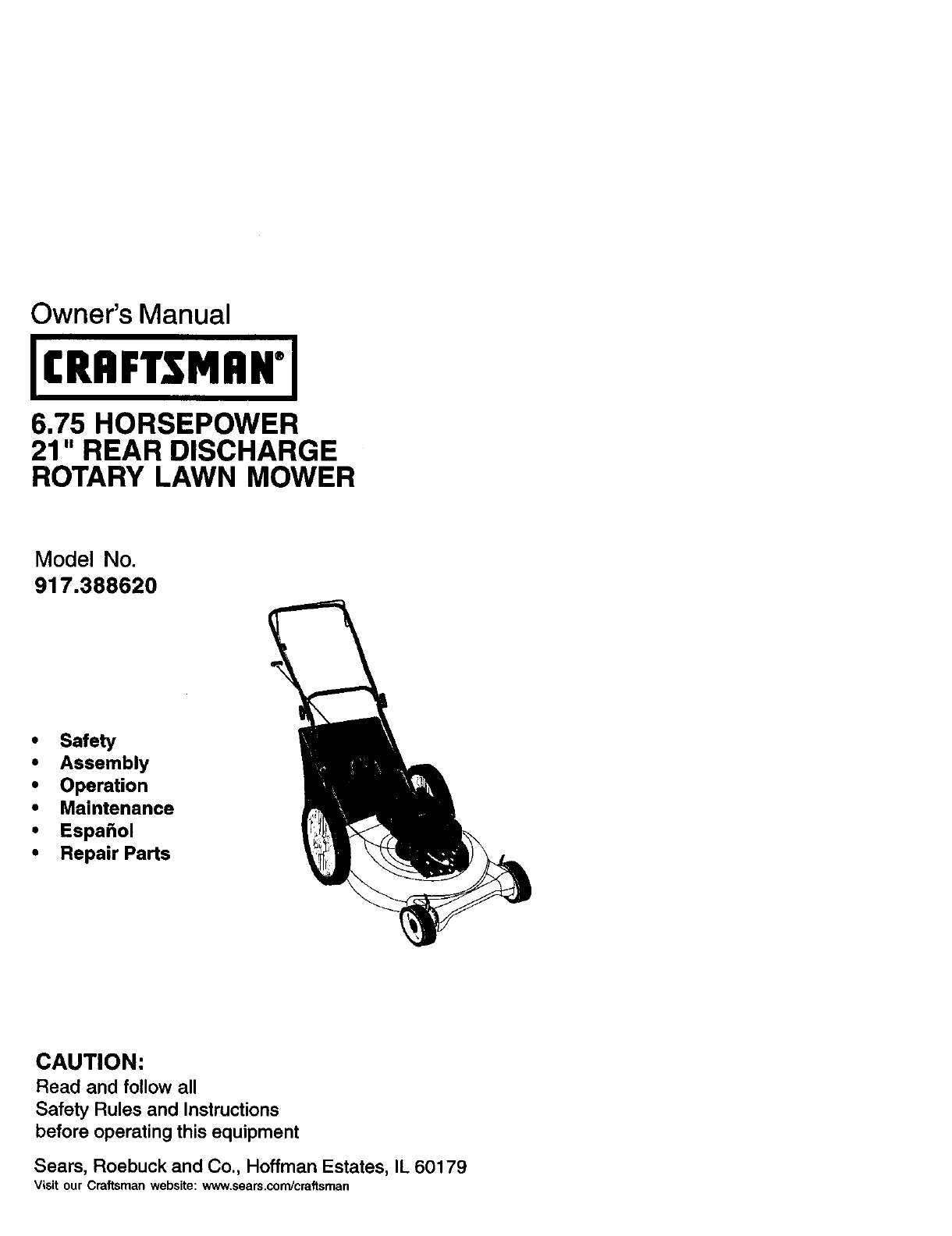 Craftsman Lawn Mower 917.38862 User Guide