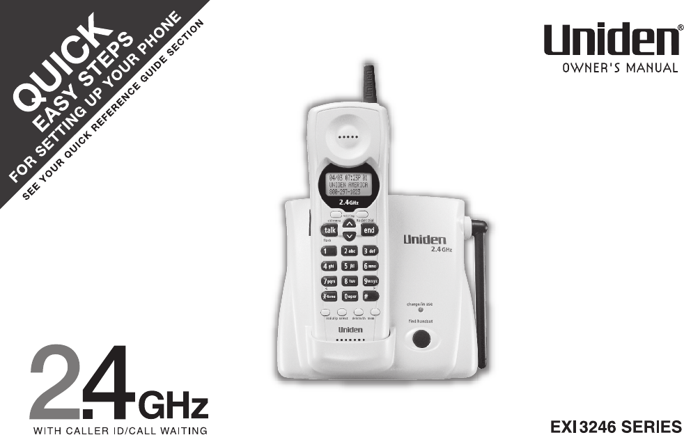 uniden cordless telephone exi3246 user guide manualsonline com rh phone manualsonline com Uniden Cordless Phone Manual Uniden Cordless Phone Manual