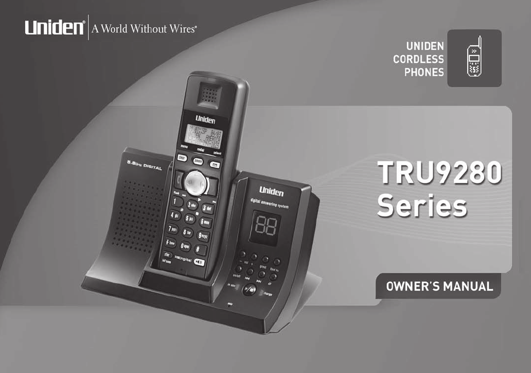uniden cordless telephone tru9280 user guide manualsonline com rh phone manualsonline com Uniden Digital Answering System Manual Uniden 7 Inch Tablet Manual