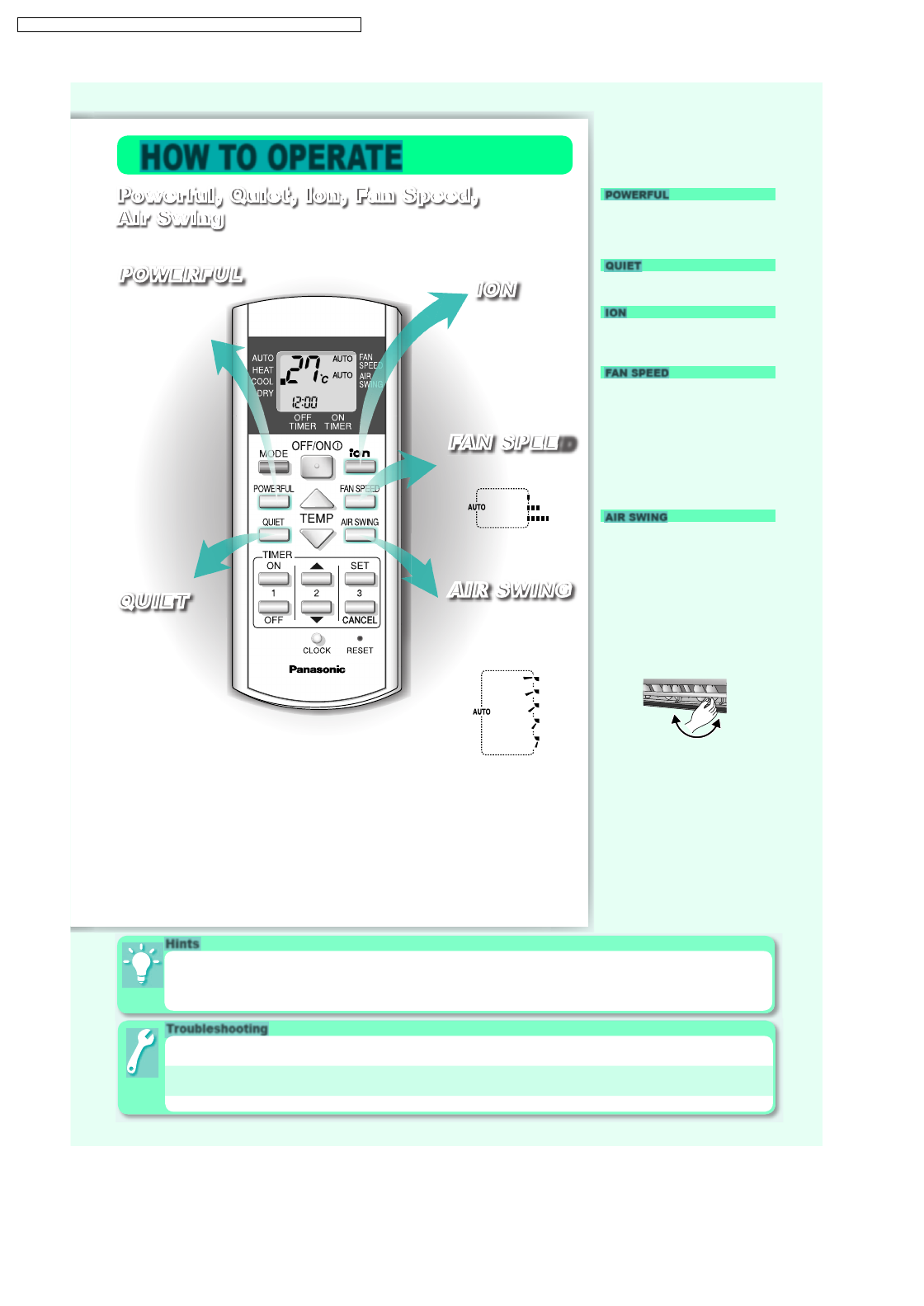 Page 4 of Panasonic Air Conditioner CS-W9DKR User Guide