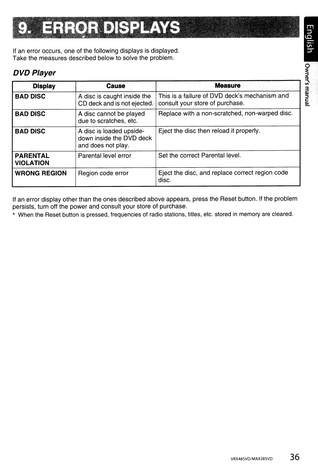 Page 36 of Clarion Car Stereo System VRX485VD User Guide