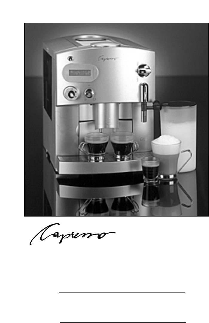 Capresso Coffee Maker Instructions : Capresso Espresso Maker C1500 User Guide ManualsOnline.com