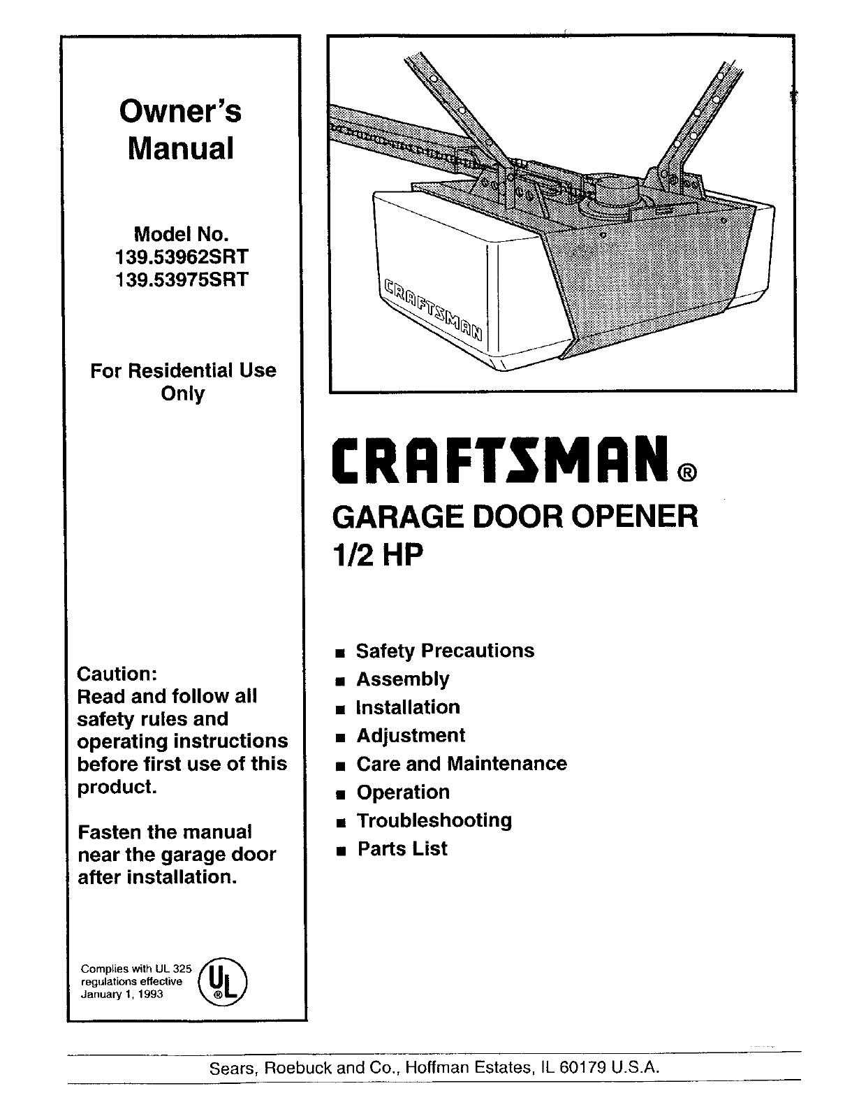 Craftsman Garage Door Opener 139 53975srt User Guide