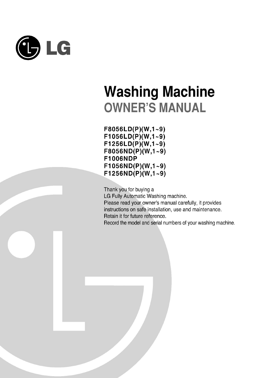 lg electronics washer f1056nd p w user guide manualsonline com rh laundry manualsonline com LG Washer WM2455HW Manual Model Number LG Tromm Washer Manual