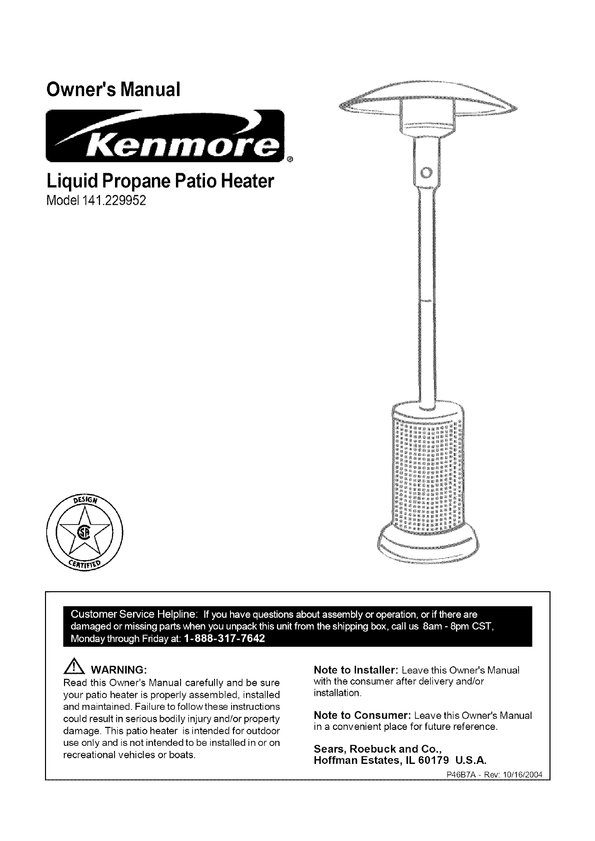 kenmore patio heater 141 229952 user guide manualsonline com rh lawnandgarden manualsonline com Charmglow Patio Heater Owner's Manual Gas Manual Propane Owners Patio Model Heater Sf87phlp