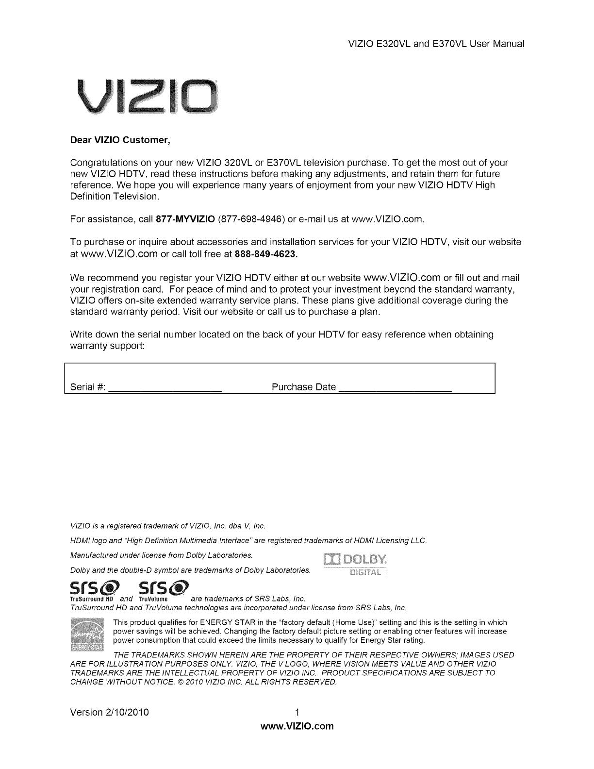 vizio flat panel television e370vl user guide manualsonline com rh tv manualsonline com vizio smart tv manual volume vizio smart tv manuals online