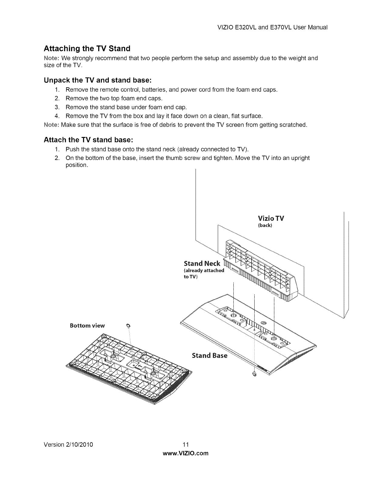 Page 11 of Vizio Flat Panel Television E320VL User Guide ...